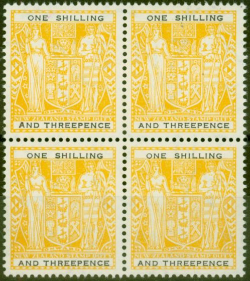 Rare Postage Stamp from New Zealand 1955 1s3d Yellow-Black SGF192aw Wmk Upright V.F MNH Block of 4