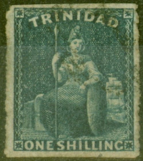 Valuable Postage Stamp from Trinidad 1859 1s Purple-Slate SG44 Pin-Perf 14 Fine Used Scarce