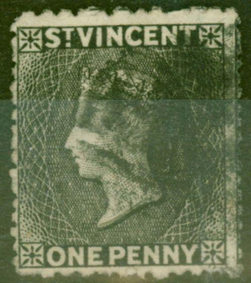 Rare Postage Stamp from St Vincent 1872 1d Black SG18 Fine Used