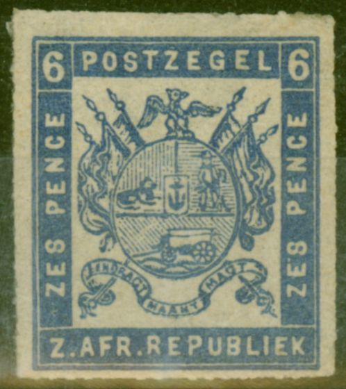 Old Postage Stamp from Transvaal 1870 6d Dull Ultramarine SG11 Fine Mtd Mint