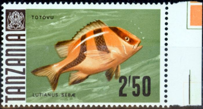 Rare Postage Stamp from Tanzania 1972 2s50 SG154a Glazed Paper V.F MNH