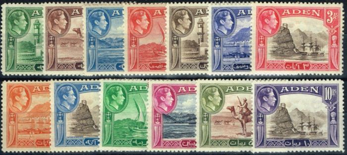 Old Postage Stamp from Aden 1939 set of 13 SG16-27 Fine Very Lightly Mtd Mint