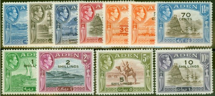 Valuable Postage Stamp from Aden 1951 New Currency set of 11 SG36-46 Fine & Fresh Lightly Mtd Mint