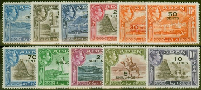 Rare Postage Stamp from Aden 1951 set of 11 SG36-46 Fine Mtd Mint