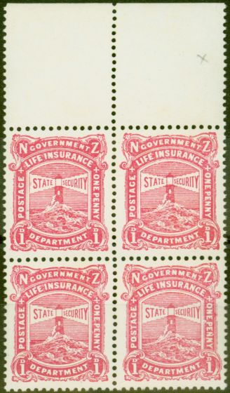Collectible Postage Stamp from New Zealand 1925 1d Carmine-Pink SGL31b Var Accent over 1st N of Penny & Frame Break