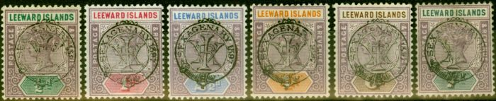 Collectible Postage Stamp from Leeward Islands 1897 Jubilee Set of 6 to 7d SG9-14 Fine Lightly Mtd Mint