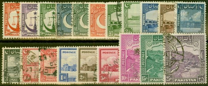 Rare Postage Stamp from Pakistan 1948-57 set of 20 SG24-43b Fine Used Top 3 Values all Perf 13
