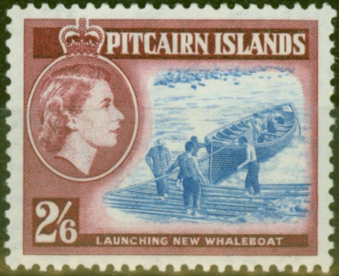 Valuable Postage Stamp from Pitcairn Islands 1957 2s6d Ultramarine & Lake SG28 V.F MNH