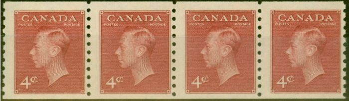 Collectible Postage Stamp from Canada 1950 4c Carmine-Lake Coil Strip of 4 SG422 Imperf x Perf 9.5 Very Fine MNH.