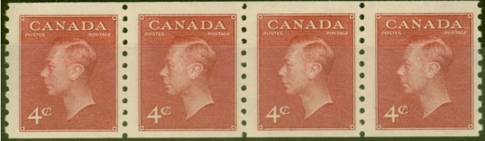 Rare Postage Stamp from Canada 1950 4c Carmine-Lake Coil Strip of 4 SG422 Imperf x Perf 9.5 Fine MNH