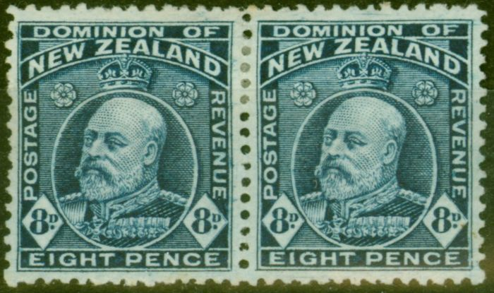 Valuable Postage Stamp from New Zealand 1909 8d Indigo-Blue SG393 P.14 x 14.5 Fine Mtd Mint Pair