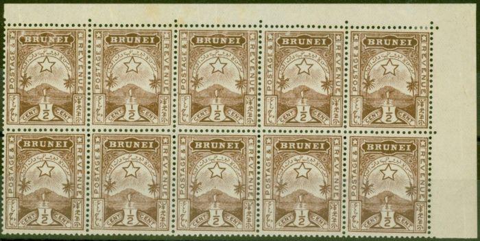 Rare Postage Stamp from Brunei 1895 1/2c Brown SG1 Fine MNH Corner Block of 10