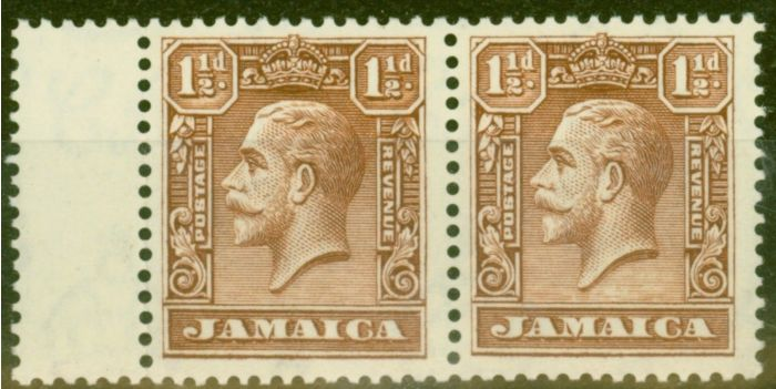 Rare Postage Stamp from Jamaica 1929 1 1/2d Chocolate SG109 V.F Very Lightly Mtd Mint Pair