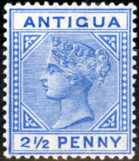 Old Postage Stamp from Antigua 1887 2 1/2d Ultramarine SG27a (b) Slanting Foot Fine & Fresh Mtd Mint