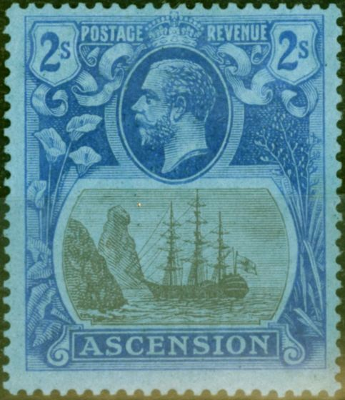 Old Postage Stamp from Ascension 1924 2s Grey-Black & Blue-Blue SG19 Fine & Fresh Mtd Mint
