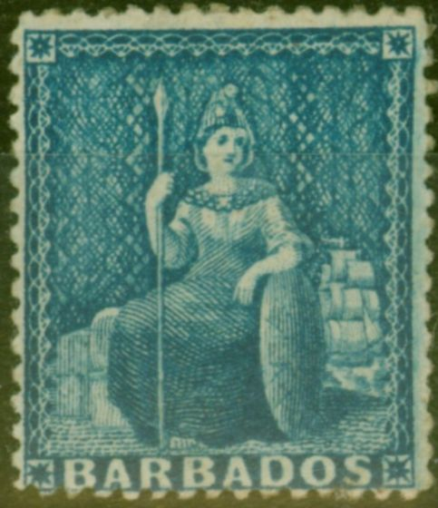 Rare Postage Stamp from Barbados 1861 (1d) Blue SG19 Clean-Cut P.14-16 Fine Mtd Mint