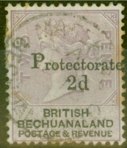 Rare Postage Stamp from Bechuanaland 1888 2d on 2d Lilac & Black SG42 Ave Used
