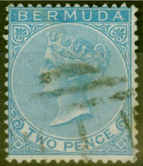 Old Postage Stamp from Bermuda 1866 2d Dull Blue SG3 Fine Used