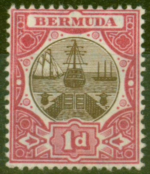 Old Postage Stamp from Bermuda 1906 1d Brown & Carmine SG37 Fine Mtd Mint