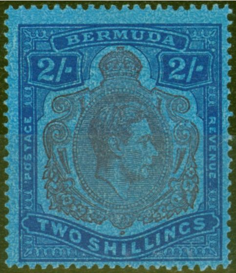 Collectible Postage Stamp from Bermuda 1942 2s Purple & Blue-Dp Blue SG116ce Broken Lower Right Scroll Fine Very Lightly Mtd Mint