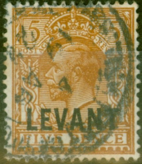 Collectible Postage Stamp from British Levant 1921 5d Yellow-Brown SGL21 Good Used.