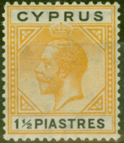 Old Postage Stamp from Cyprus 1922 1 1/2pi Yellow & Black SG91 Fine Mtd Mint