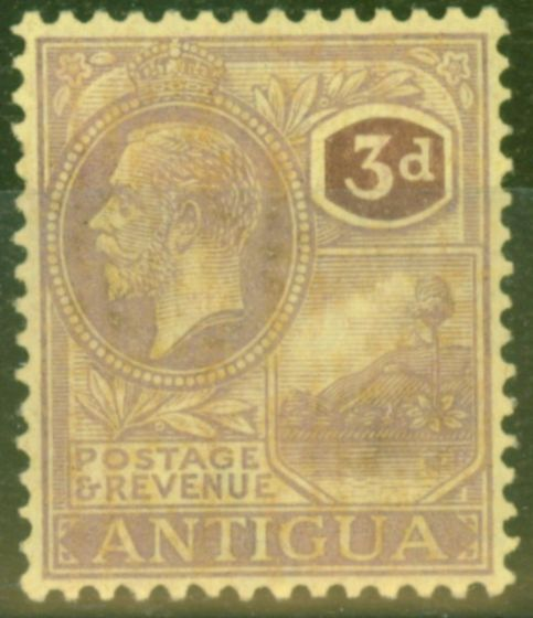 Collectible Postage Stamp from Antigua 1925 3d Purple Pale-Yellow SG74 Fine & Fresh Very Lightly Mtd Mint