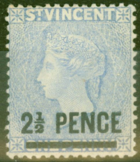 Rare Postage Stamp from St Vincent 1889 2 1/2d on 1d Milky Blue (pale shade) SG49 Fine Very Lightly Mtd.