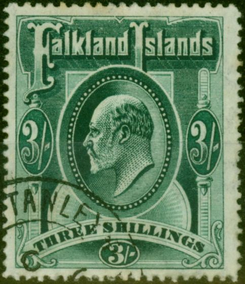 Valuable Postage Stamp from Falkland Islands 1907 3s Deep Green SG49b Very Fine Used
