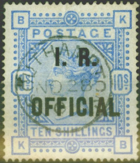 Rare Postage Stamp from GB 1890 10s Ultramarine I.R Official SG010 Fine Used