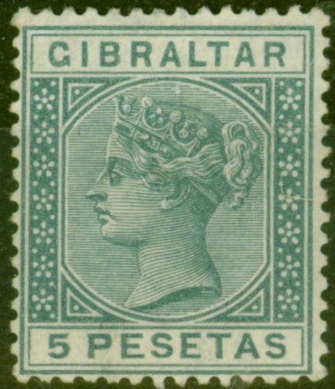 Valuable Postage Stamp from Gibraltar 1889 5p Slate-Grey SG33 Fine Very Lightly Mtd Mint