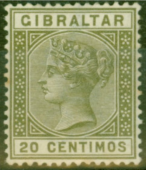 Old Postage Stamp from Gibraltar 1896 20c Olive-Green SG25 Fine Very Lightly Mtd Mint
