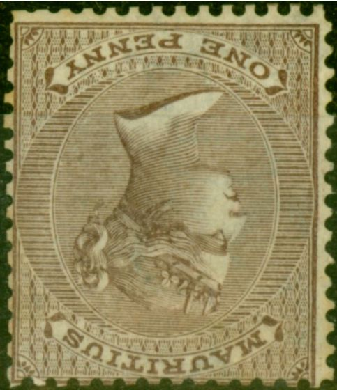 Valuable Postage Stamp from Mauritius 1863 1d Purple-Brown SG56w Wmk Inverted Good Unused
