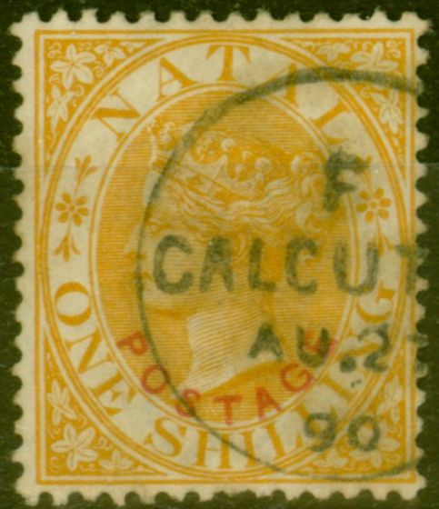 Old Postage Stamp from Natal 1888 1s Orange SG108 Var Used in Calcutta Fine Used Most Unusual