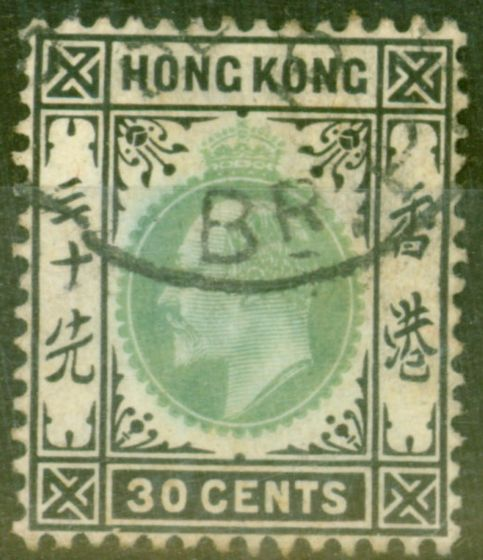 Collectible Postage Stamp from Hong Kong 1904 30c Dull Green & Black SG84 Fine Used