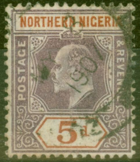 Valuable Postage Stamp from Northen Nigeria 1907 5d Dull Purple & Chestnut SG24a Chalk Paper Fine Used