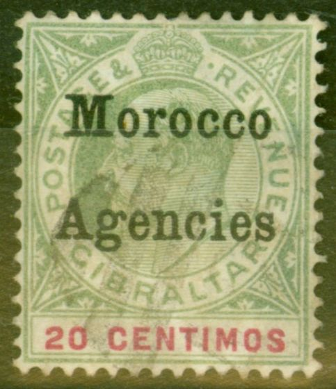 Rare Postage Stamp from Morocco Agencies 1904 20c Grey-Green & Carmine SG19 Good Used
