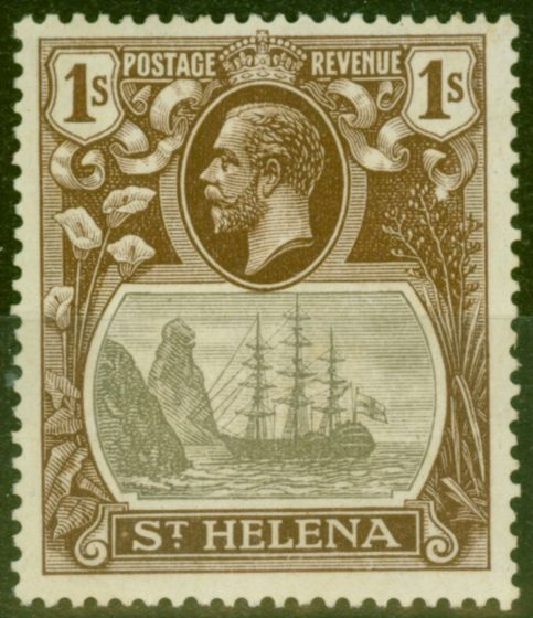 Rare Postage Stamp from St Helena 1922 1s Grey & Brown SG106c Cleft Rock V.F Lightly Mtd