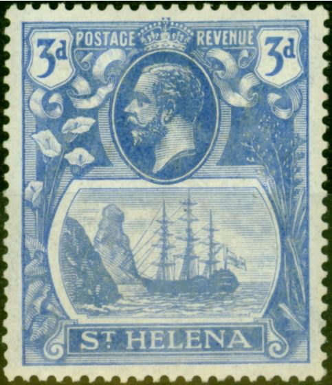 Valuable Postage Stamp from St Helena 1923 3d Bright Blue SG101b Torn Flag Fine LMM