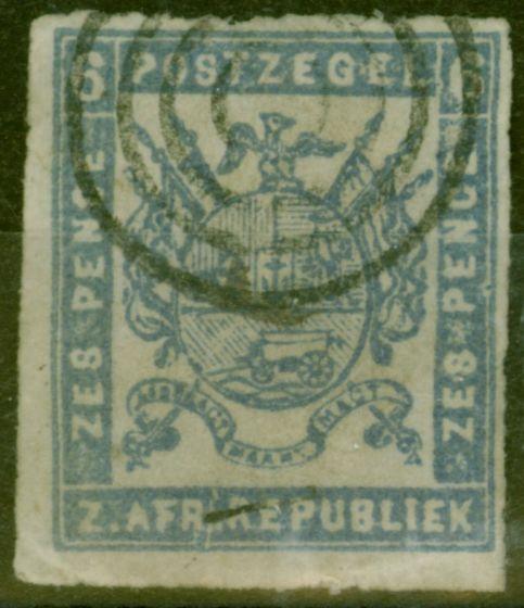 Valuable Postage Stamp from Transvaal 1870 6d Dull Ultramarine SG11var Broken Frame at Base Good Used