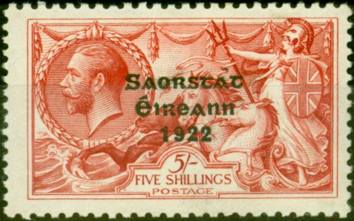 Valuable Postage Stamp from Ireland 1928 5s Rose-Carmine SG87c Flat Accent over A V.F & Fresh VLMM