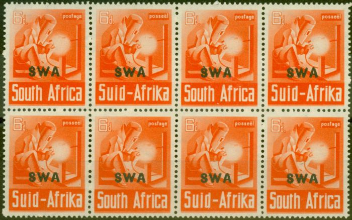 Rare Postage Stamp from S.W.A 1941 6d Red-Orange SG119 V.F MNH Block of 8, 4 Pairs