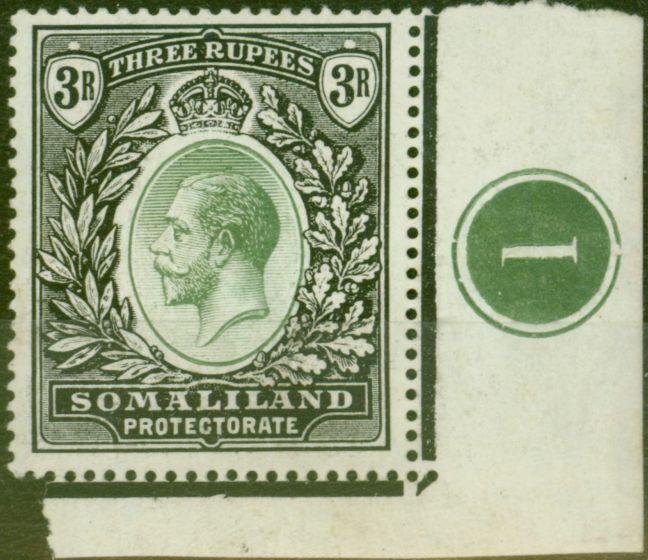 Old Postage Stamp from Somaliland 1919 3R Green & Black SG71 Fine Very Lightly Mtd MInt Pl 1 Side Marginal