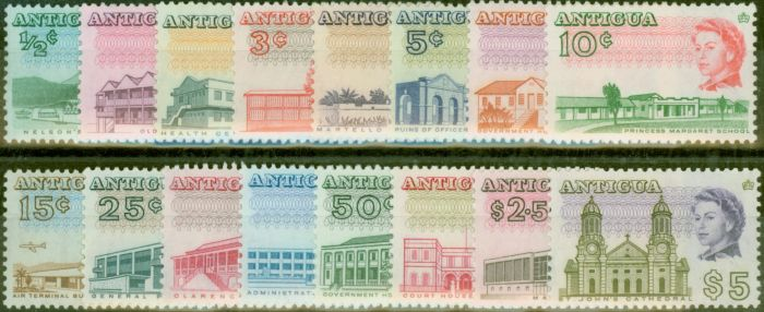 Valuable Postage Stamp from Antigua 1966 set of 16 SG180-195 V.F MNH