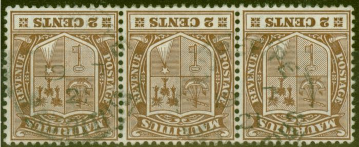 Valuable Postage Stamp from Mauritius 1910 2c Brown SG182w Wmk Inverted Fine Used Strip of 3 Scarce Multiple