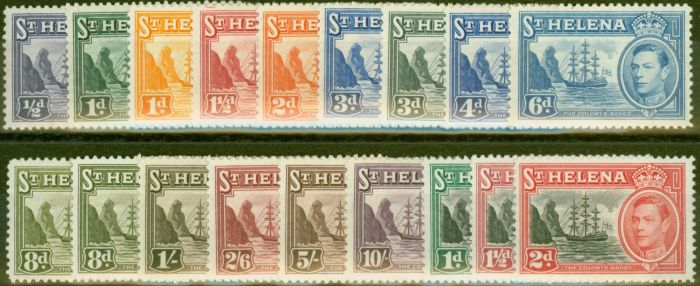 Old Postage Stamp from St Helena 1938-49 set of 18 SG131-140, 149-151 Fine Very Lightly Mtd Mint