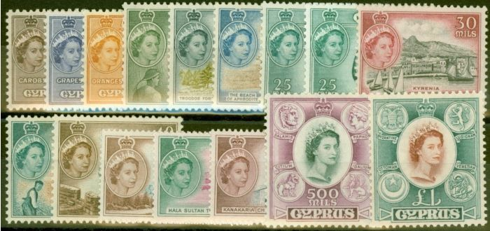 Valuable Postage Stamp from Cyprus 1955-58 set of 16 SG173-187 (both 25m) Fine Lightly Mtd Mint