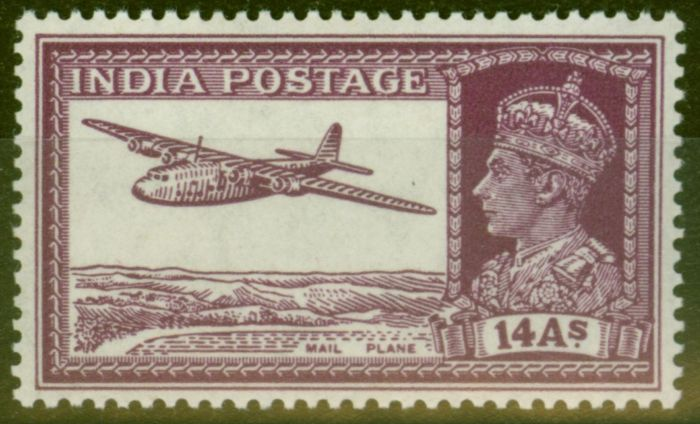 Valuable Postage Stamp from India 1940 14a Purple SG277 V.F Very Lightly Mtd Mint