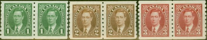 Collectible Postage Stamp from Canada 1935 Coil Stamps set of 3 SG352-354 in V.F Very Lightly Mtd Mint Pairs