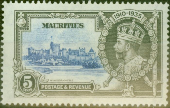 Valuable Postage Stamp from Mauritius 1935 5c Ultramarine & Grey SG245F Diag Line by Turret Fine & Fresh Mtd Mint